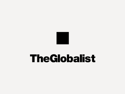 Pressing the point globalist publishing magazine identity brand press logo box pixel dot