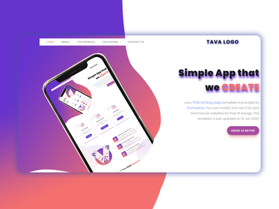Tava Landing Page Template business bootstrap all theme picks themepicks website web vector logo design illustration graphic design flat clean branding art app animation ux ui design