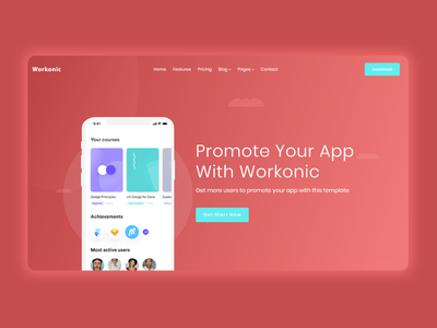 Workonic App Free Html Template business bootstrap all theme picks themepicks website web vector logo design illustration graphic design flat clean branding art app animation ux ui design
