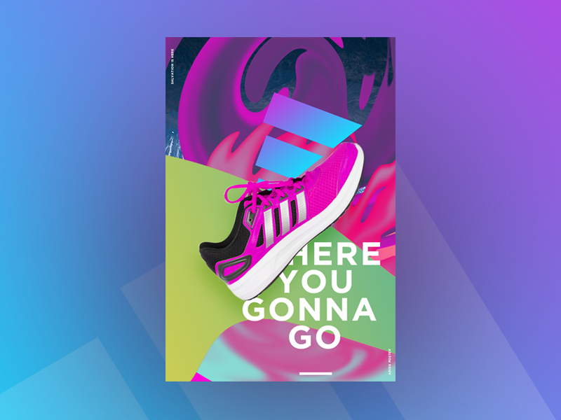 Where You Gonna Go glitch art fashion art photo manipulation design shoes runner runners adidas poster design poster poster a day poster collection poster challenge poster art brand identity typography graphic design