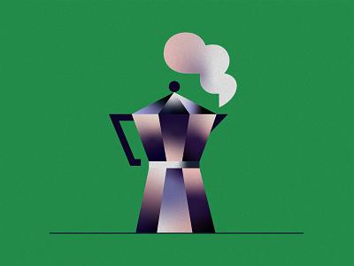 Coffee is ready illustrator moka pot espresso ready steam gradient coffee design texture vector illustration