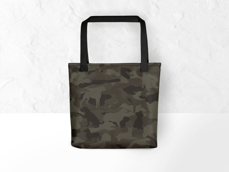Dog & Bone Forest Green Printed Tote camouflage camo pets dogs dog print textile art fashion design dog art textile print design illustration