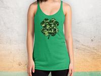 Dog & Bone Green Camo Shamrock Tank | Saint Patrick's Day Design