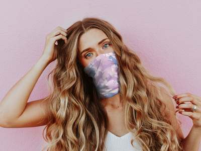 Cloud Tie Dye Mask   Model cropped camouflage pattern art cloud tie dye animal print camo dog repeat illustration fashion design dog art textile print apparel design