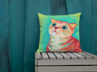 Colorful Cat Pillow Illustration