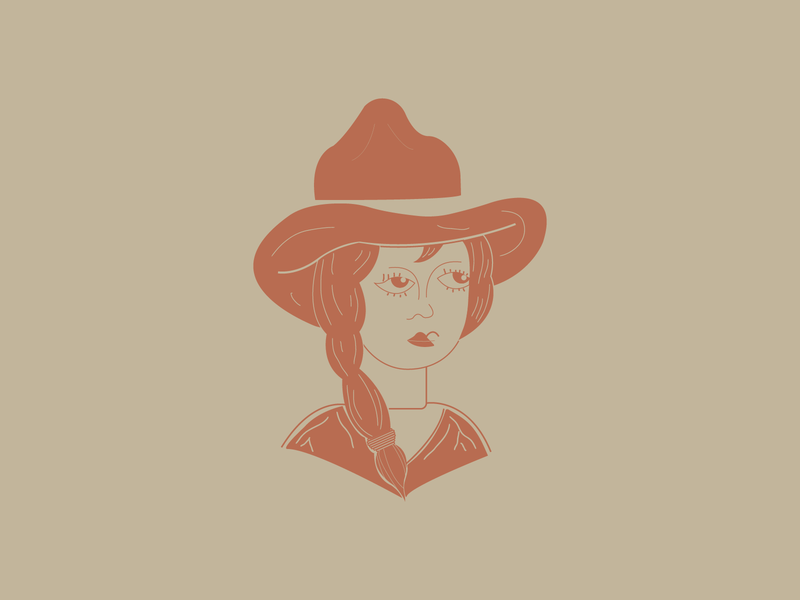 Even Cowgirls Get the Blues two color vector southern art simple southern western cowgirl digital adobe drawing design illustration illustrator