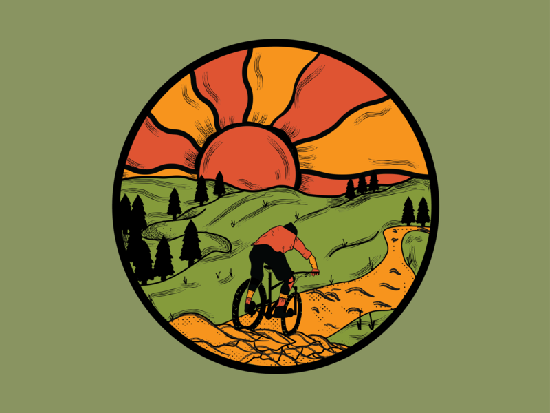 Mountain Bike Design colorful art colorful trippy mountain bike nature outdoors icon cycling digital illustration adobe drawing vector branding illustrator illustration design