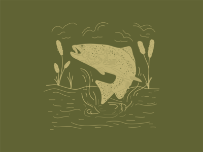 Trout fishing water nature trout fish one color icon outdoors digital illustration logo digital adobe drawing vector illustrator illustration design