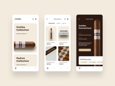 Cigino Cigar App Design cigar branding brand mobile app logo design interface ux ui