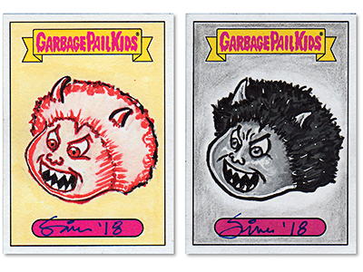 GARBAGE PAIL KIDS // 2018 Series One Sketch Cards black and white yellow drawing retro 80s paint marker ink pencil illustrator dribbble illustration