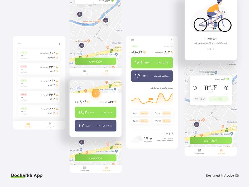Docharkh Android App bicycle bike app ui design app ui android app application design app design application health app ui