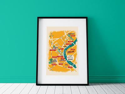 Carte des musées d'art de Bordeaux ai illustrator map illustration bordeaux design map