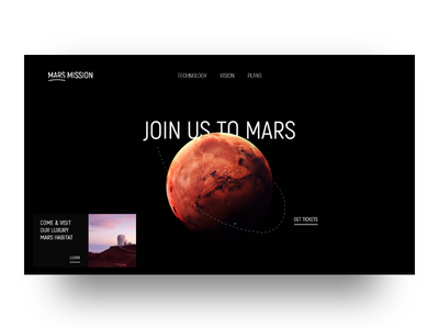 Mars Mission 2019 space mars mission redesign website landing page mars ido laish