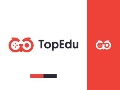 TopEdu Games logo joystick education owl branding gaming