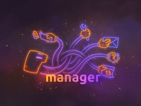 Manager Neon Illustration