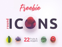22 Fruits & Vegetables Round Icons Free