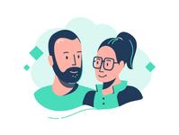 Couple digitalart man woman illustrator character comic 2d portrait vector illustration