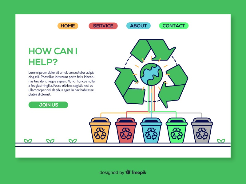 Recycling landing page template world landing page download responsive ui eco ecology freepik free flat recycling recycle
