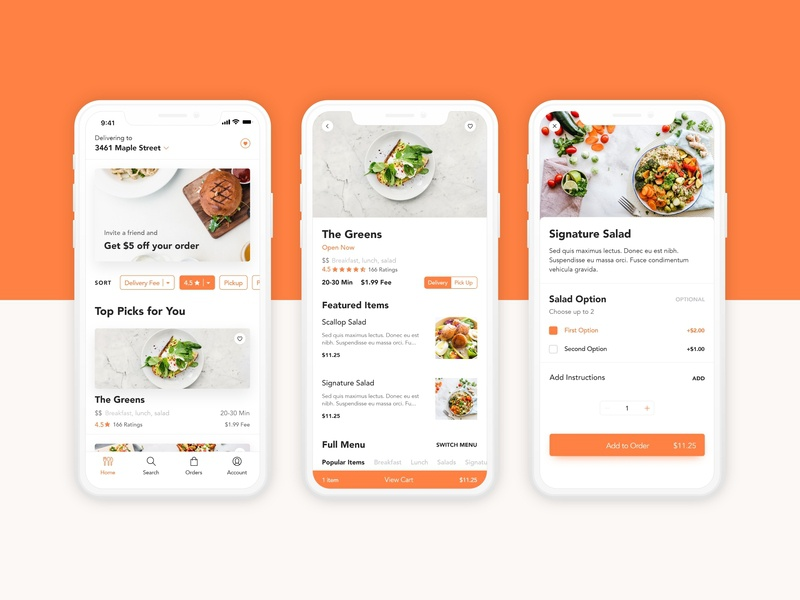 Food Delivery orange delivery food app food ui daily ui