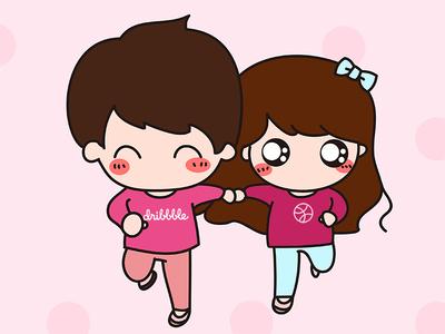 Hello Dribbble, I am coming! lovers sweetheart girl boy running cute lovely cartoon illustration