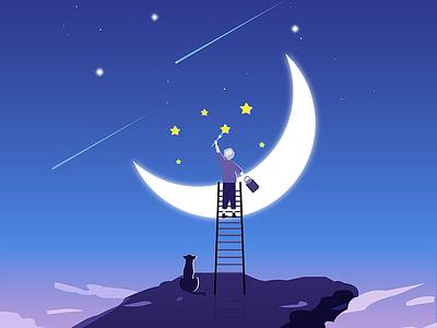 a illustration practice: Dream Great Dreams stars moon ui cartoon illustration flat illustration dream