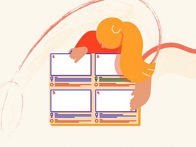 Storyboard 🙂 dribble gif designs orange flat vector adobe storyboard motion motiongraphics production animation character blog 2d explainer video design illustration studiotale