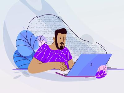 Hello ... design illustration vector studiotale character animation coding laptop 2d character