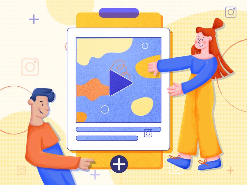 Instagram Video blog post blog cover illustration design 2d how-to guide video instagram