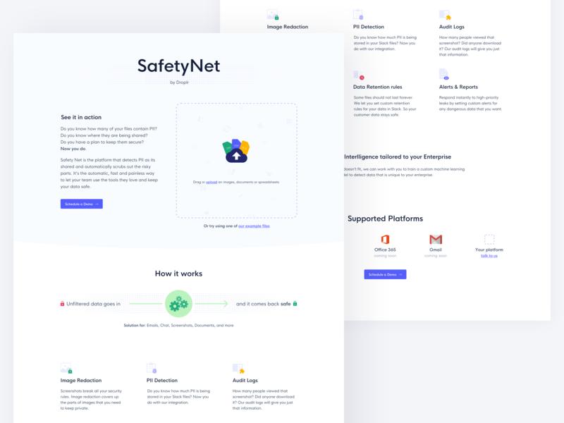 Safety Net Platform design web security privacy safety ux ui website landing page droplr safetynet