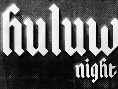 Huluween Party halloween invite email typography glow gothic blackletter