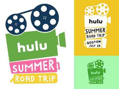 Hulu Summer Road Trip logo concept film reel-to-reel tour travel luggage movies projector hulu