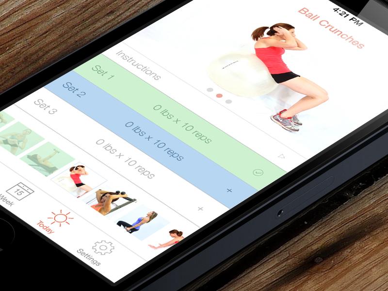 Vitogo Exercise View ios ios7 iphone ui ux app white light clean flat minimal fitness