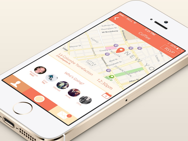 Essen Event View app ios7 ui ux coffee map friends lunch iphone event bright flat