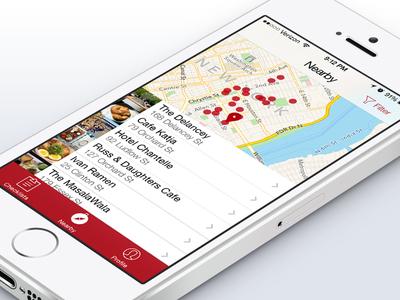 Thrillist App: Nearby View