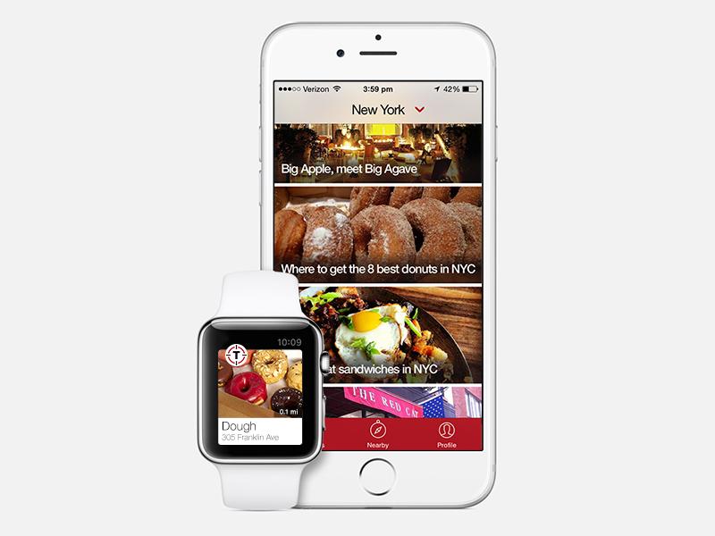 Thrillist Apple Watch Concept ios8 apple watch ui watch watch ios iphone iwatch concept thrillist app donuts