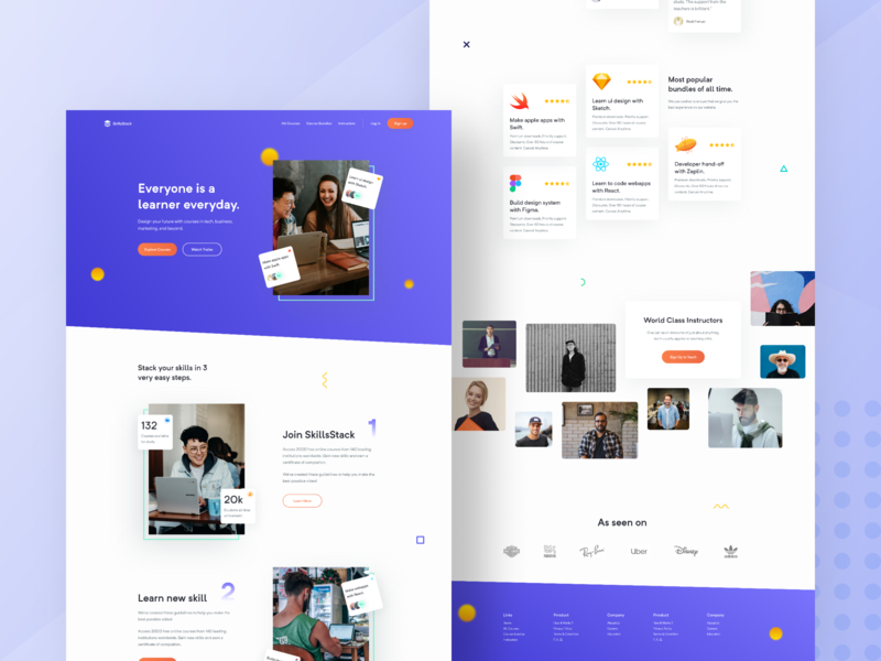 Online Courses Home Page v2 product design 2019 app branding identity landing page landing page design minimal typography ui ux webapp design website design modern design popular design trending design illustrations gradients online course online learning