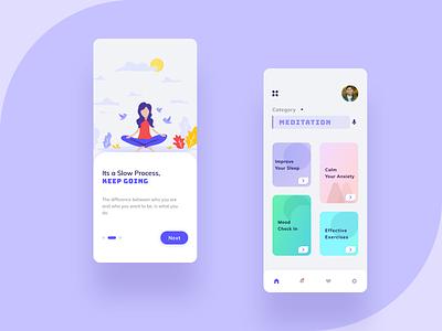 Mind Fullness App user interface uidesign gradient product design ios android ui design uxdesign mobile app design