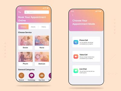 Online Clinician Booking booking app medical app illustration doctor health gradient user interface ui design mobile app design product design uxdesign