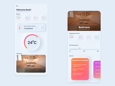 Smart Home gradient minimal calendar smarthome user interface android skeoumorph product design ui design mobile app design