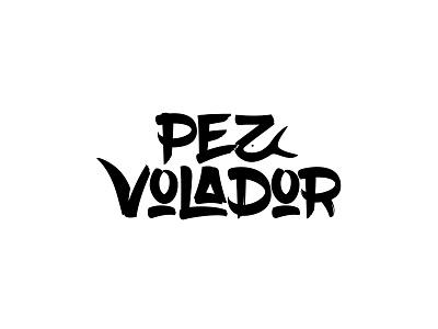 Pez Volador negative fish flying brush lettering mark logo rockband