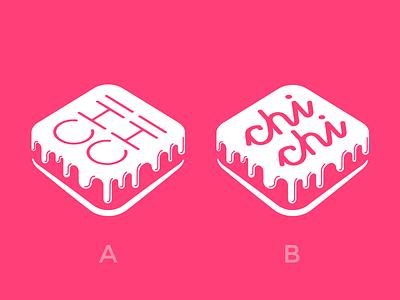 [WIP] ChiChi Cakes glasse brownies pastry cake brand mark fuchsia logo