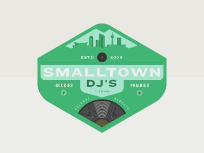 Smalltown Dj's quebec dj canada crest logo illustration branding calgary logotype type
