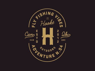 Hooké, Fly fishing vibes logo crest h fishing wip black outdoor vintage texture