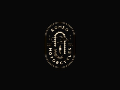 Romeo Motorcycles leaf hand chain moto crest