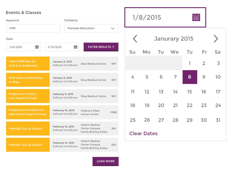 HonorHealth // Events and Date Picker by Will Mejia for