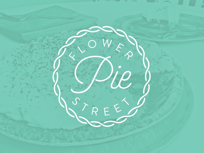 Flower Street Pie branding seal stamp baking pasty pie flower badge logo