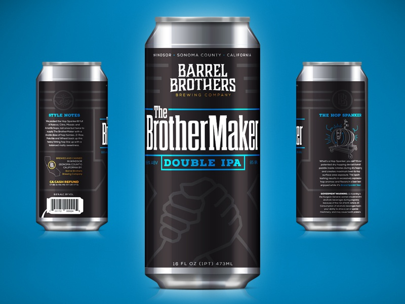 Barrel Brothers // The BrotherMaker Double IPA beer branding branding craft beer beer can tallboy can brother packaging label brewery
