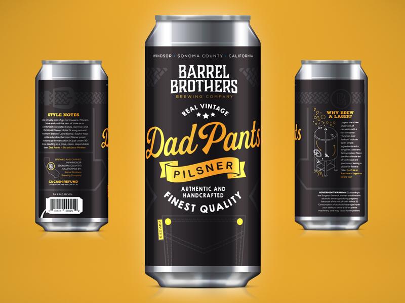 Barrel Brothers // Dad Pants Pilsner craft beer beer can beer branding vintage tallboy packaging label can brother brewery branding