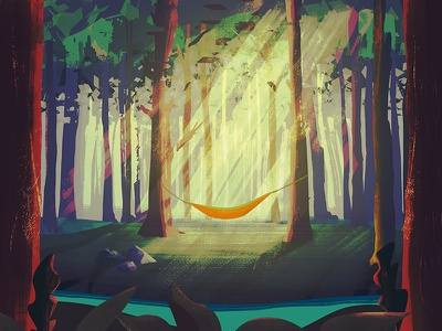 hammock camping outdoors photoshop painting illustration lush trees nature colorful hammock drawing forest