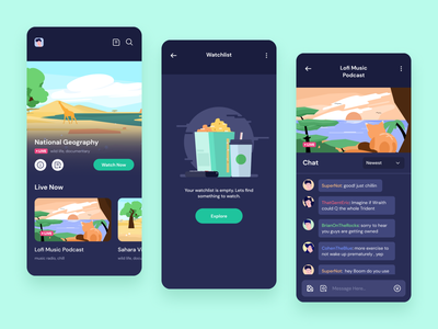 Video Streaming Mobile Appication yazidhue empty state watchlist video on demand landscape illustration illustration live chat chat dark theme movie aplication movie popcorn streaming application streaming video player